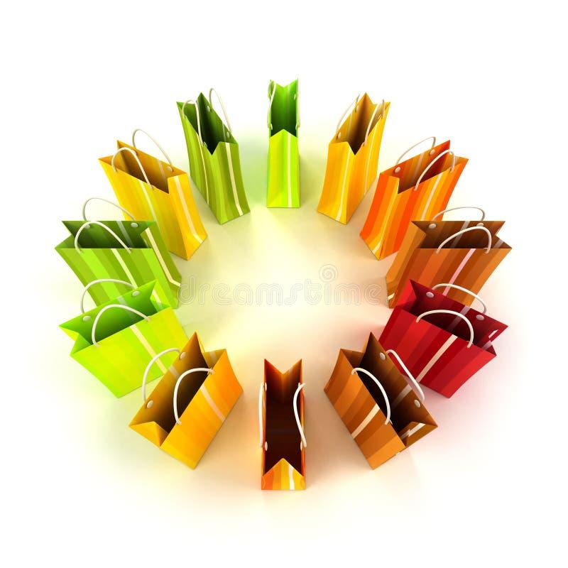 Cirkel van kleurrijke het winkelen zakken stock illustratie