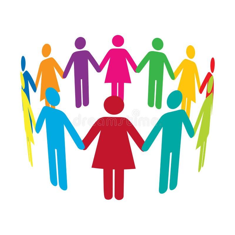 Cirkel van Kleurrijke Mensen vector illustratie