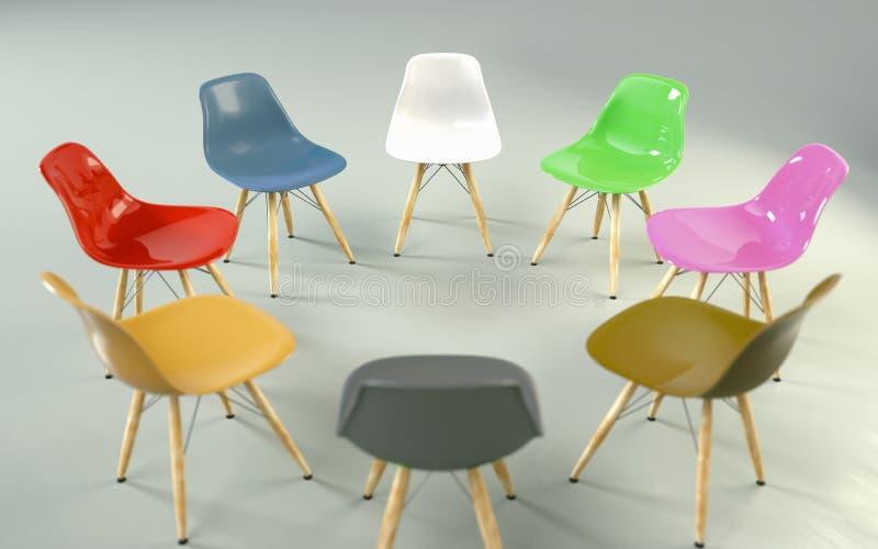 Cirkel van moderne ontwerpstoelen met een oneven uitsprong Werkgelegenheid royalty-vrije stock fotografie
