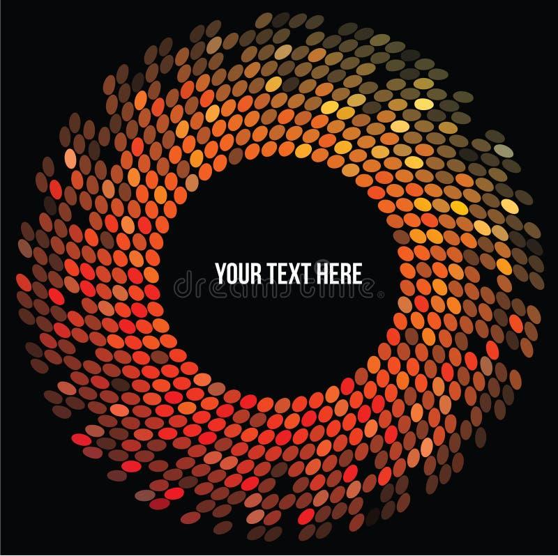 Cirkel van rode en oranje discolichten op zwarte achtergrond stock illustratie