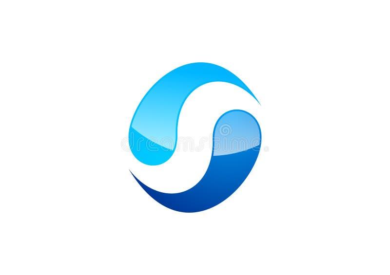 Cirkel vatten, logo, vind, sfär, abstrakt begrepp, bokstav S, företag, korporation vektor illustrationer