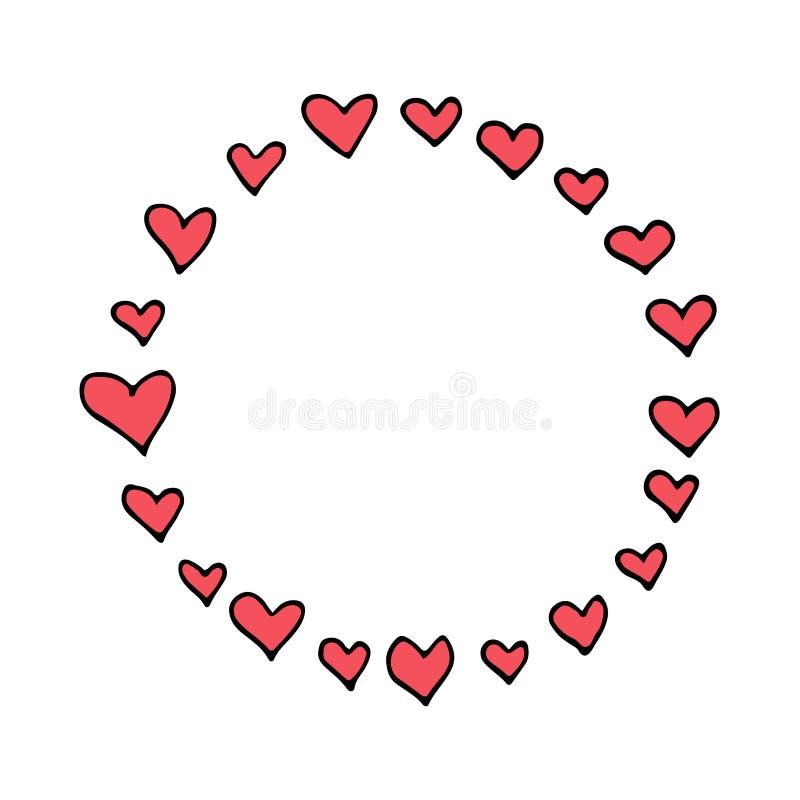 Cirkel vectorkader met roze harten, het ontwerp van de valentijnskaart` s dag, hand getrokken decoratie royalty-vrije illustratie
