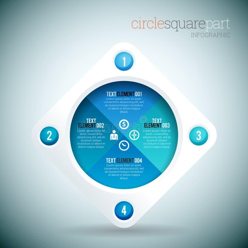 Cirkel Vierkant Deel Infographic vector illustratie