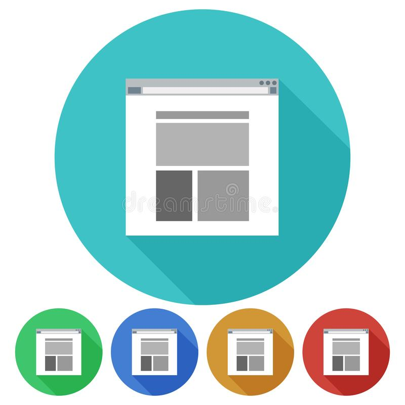 Cirkel, vlak grijs Web-pagina pictogram op een gekleurde achtergrond Vijf variaties royalty-vrije illustratie