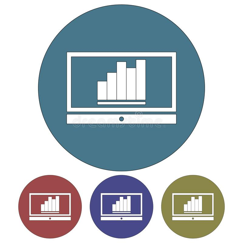 Cirkel, vlak monitorsilhouet met een omhooggaand neigend bedrijfsgrafiekpictogram Vier variaties royalty-vrije illustratie