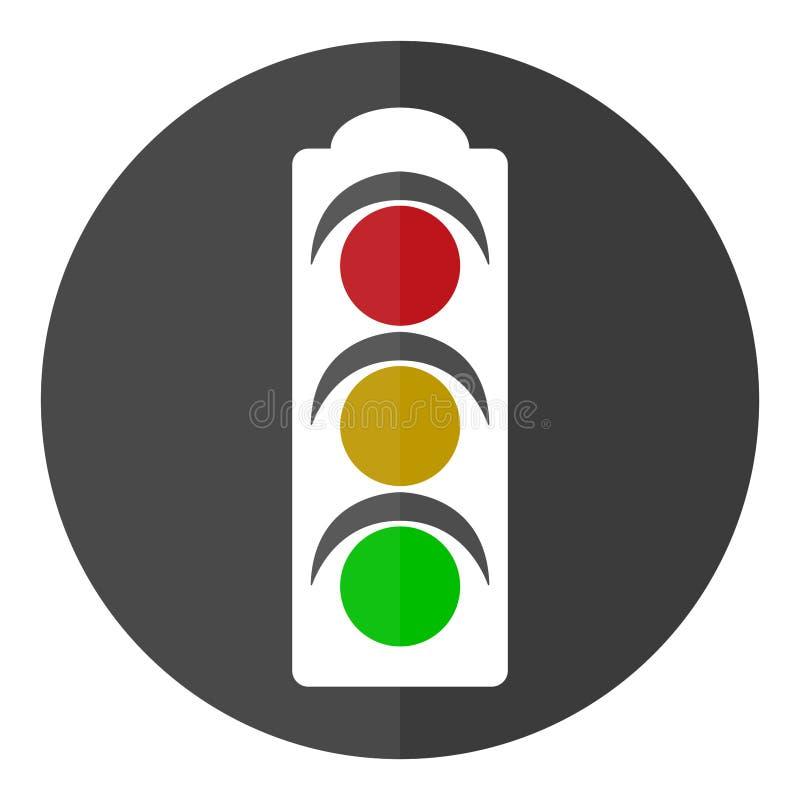 Cirkel, vlak, wit verkeerstekenpictogram Grijze achtergrond vector illustratie