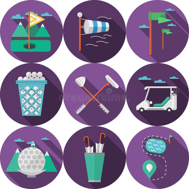 Cirkel vlakke pictogrammen voor golf stock illustratie