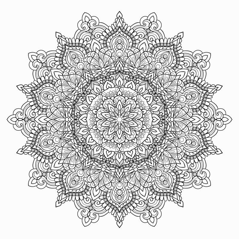 Cirkel Zwart-witte Mandala op een witte achtergrond Illustratie van het kleuren van boekpatroon Vector stock illustratie