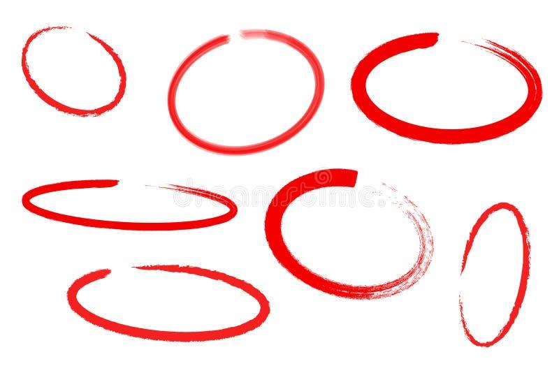 Cirkelattraktionuppsättning, designbeståndsdelar av att markera, röd markör som isoleras på vit bakgrund, vektorillustration royaltyfri illustrationer