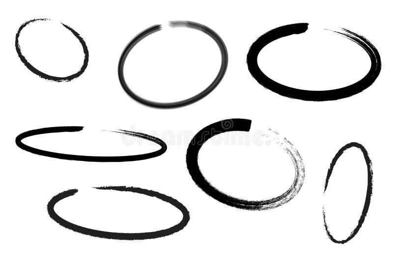 Cirkelattraktionuppsättning, designbeståndsdelar av att markera, svart markör som isoleras på vit bakgrund, illustration royaltyfri illustrationer