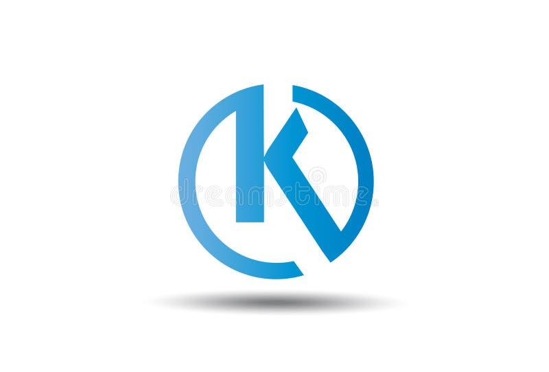 Cirkelbokstav K Logo Design Vector stock illustrationer
