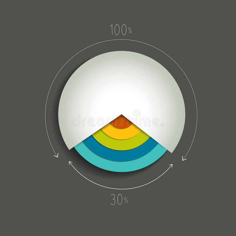 Cirkelcirkeldiagram, grafiek stock illustratie