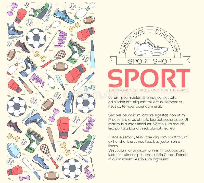 Cirkelconcept sportuitrustingachtergrond levensstijlhulpmiddelen met gymnastiekapparaat, materiaal en punten Opleiding vector illustratie