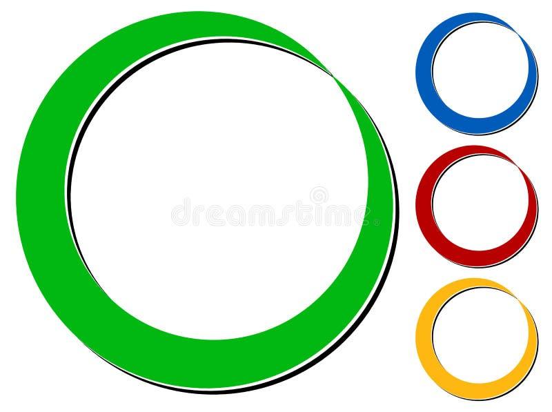 Cirkeldesignbeståndsdel med knockout- skugga i 4 färger royaltyfri illustrationer