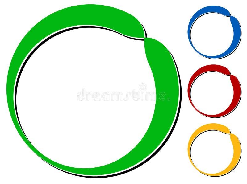 Cirkeldesignbeståndsdel med knockout- skugga i 4 färger vektor illustrationer