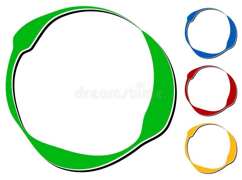 Cirkeldesignbeståndsdel med knockout- skugga i 4 färger stock illustrationer