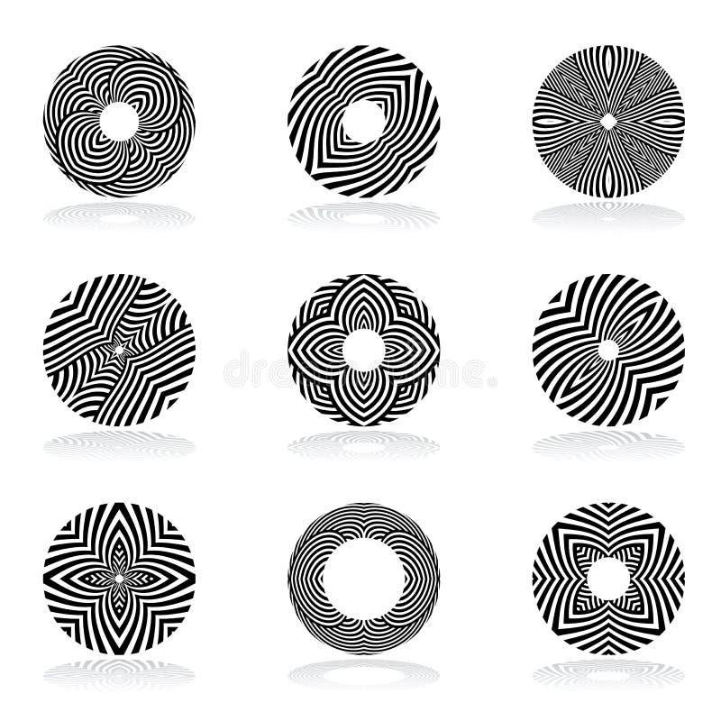 Cirkeldesignbeståndsdelar Linjer modeller stock illustrationer