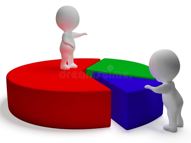 Cirkeldiagram en 3d Karakters die Statistiekenrapport vertegenwoordigen stock illustratie