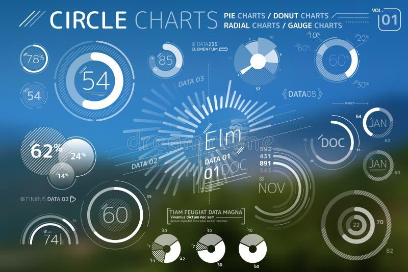 Cirkeldiagram, cirkeldiagram, munkdiagram och radiella diagramInfographic best?ndsdelar royaltyfri illustrationer