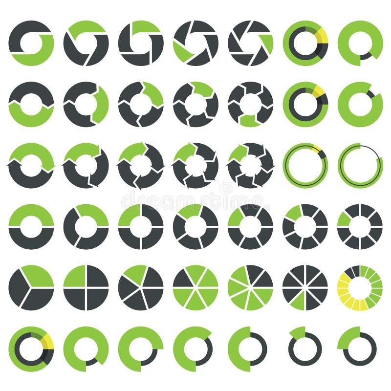 Cirkeldiagram och rund grafinfographics stock illustrationer