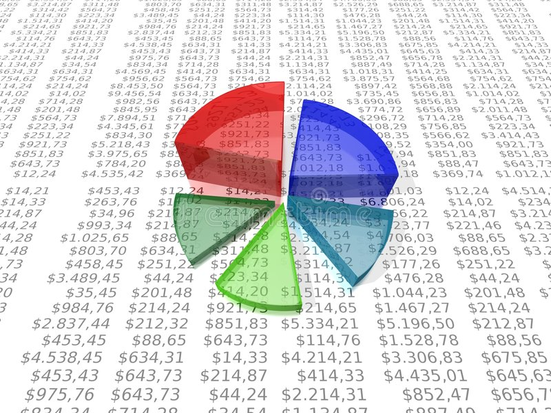 Cirkeldiagram op dollarrapport stock illustratie