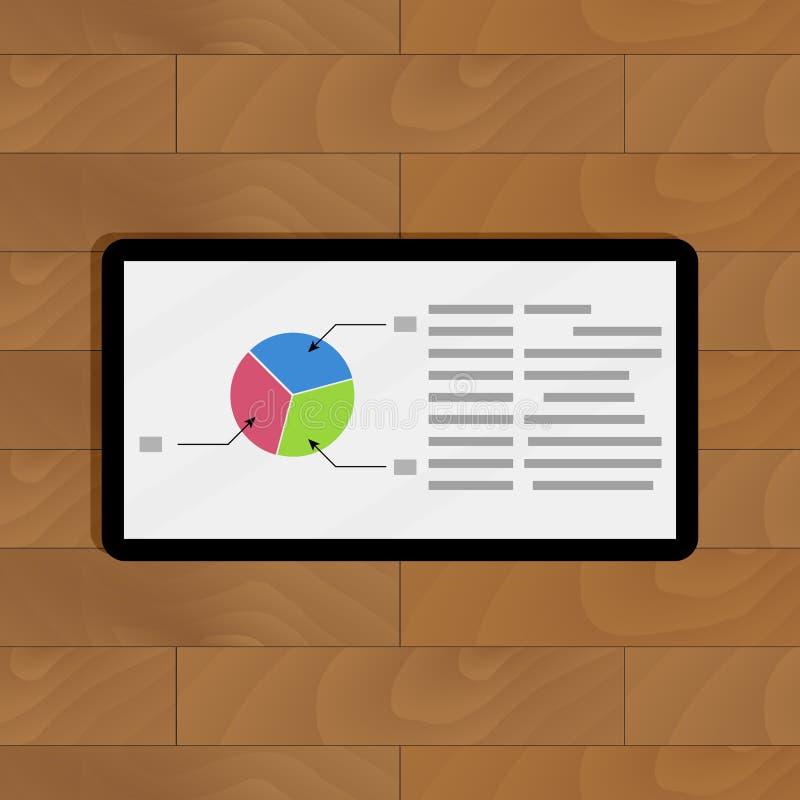 Cirkeldiagram op tablet royalty-vrije illustratie