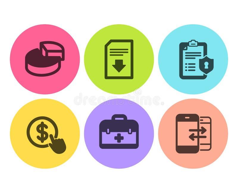 Cirkeldiagram, Privacybeleid en geplaatst Eerste hulppictogrammen Koop munt, Downloaddossier en Telefoon communicatie tekens Vect vector illustratie