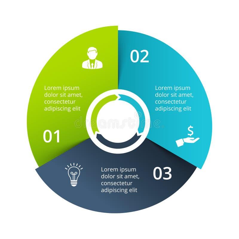 Cirkeldiagram som delas in i 3 delar, moment eller alternativ Mall för design för vektororigami infographic Illustration för royaltyfri illustrationer