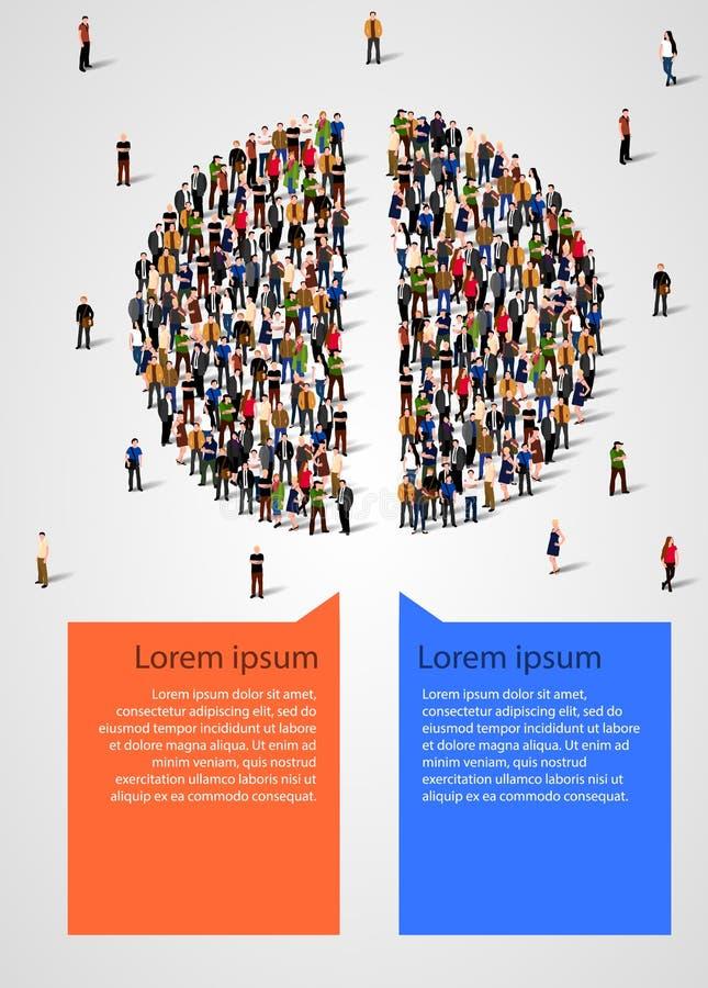 Cirkeldiagram uit mensen wordt in de helft worden verdeeld samengesteld die Statistieken en demographicsinfographics stock illustratie