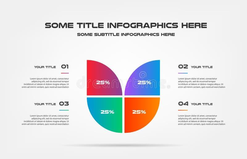 Cirkeldiagram van percentageinfographics Element van grafiek, diagram met 4 opties - delen, processen, chronologie Vector royalty-vrije illustratie