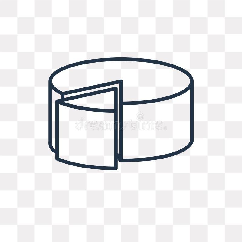 Cirkeldiagram vectordiepictogram op transparante lineaire achtergrond wordt geïsoleerd, stock illustratie