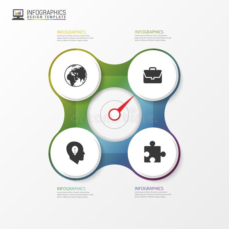 Cirkelelement voor infographic Malplaatje voor cyclusdiagram Vector royalty-vrije illustratie