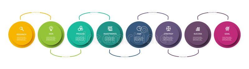 Cirkelelementen van grafiek, diagram met 8 stappen, opties, delen of processen Malplaatje voor infographic, presentatie vector illustratie