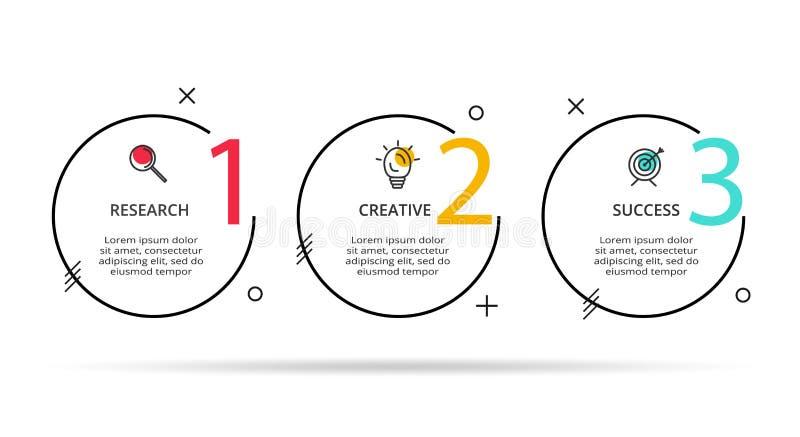 Cirkelelementen van grafiek, diagram met 3 stappen, opties, delen of processen Malplaatje voor infographic, presentatie stock illustratie