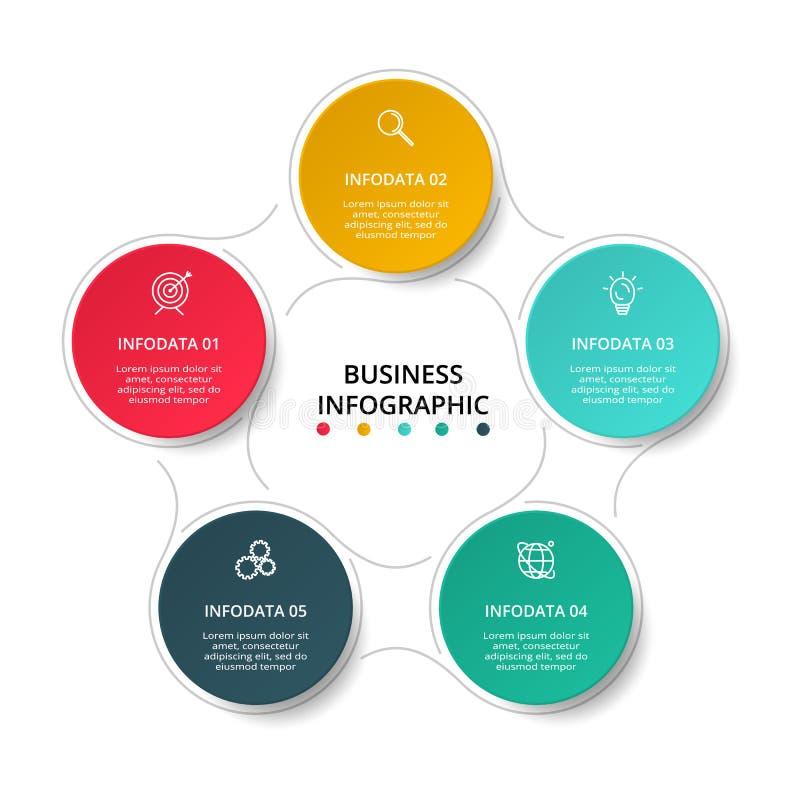Cirkelelementen van grafiek, diagram met 5 stappen, opties, delen of processen Malplaatje voor infographic, presentatie stock illustratie