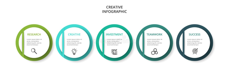 Cirkelelementen van grafiek, diagram met 5 stappen, opties, delen of processen Malplaatje voor infographic, presentatie vector illustratie