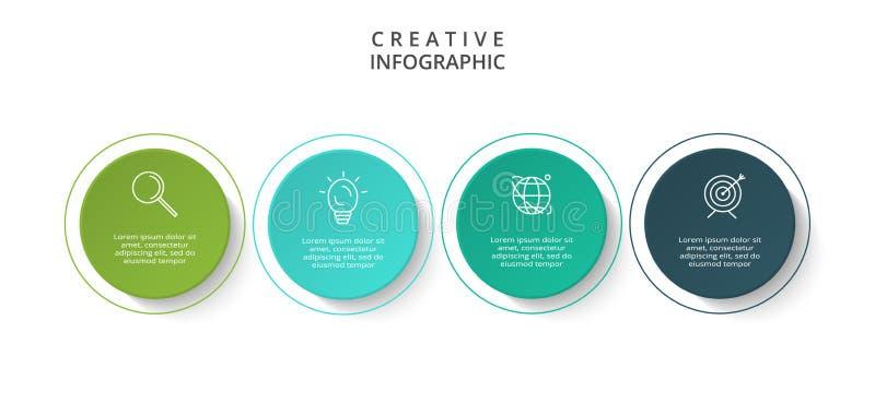 Cirkelelementen van grafiek, diagram met 4 stappen, opties, delen of processen Malplaatje voor infographic, presentatie stock illustratie