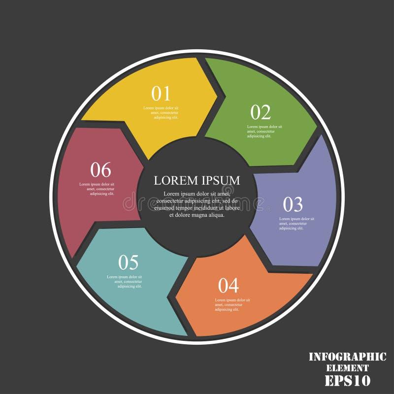 Cirkelelementen voor infographic Bedrijfsconcept met 6 opties, delen, stappen of processen royalty-vrije illustratie