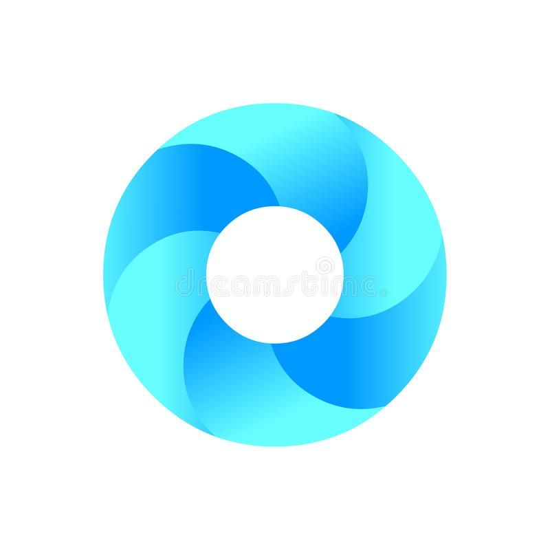Cirkelembleem Blauwe het pictogramvector van het cirkelembleem Abstract Pictogram royalty-vrije illustratie
