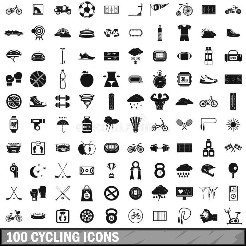 100 cirkelend geplaatste pictogrammen, eenvoudige stijl vector illustratie
