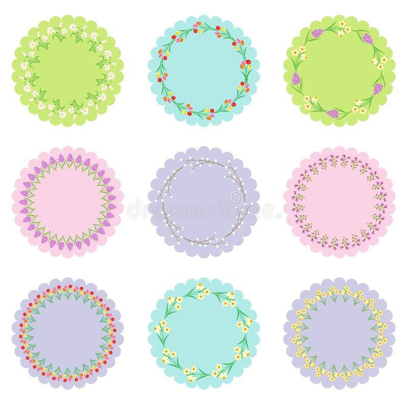 Cirkeletiketter med blommaramar royaltyfri illustrationer