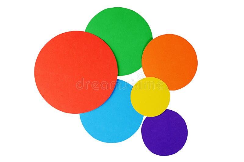 Cirkelfärgpapper som isoleras på vit arkivfoto