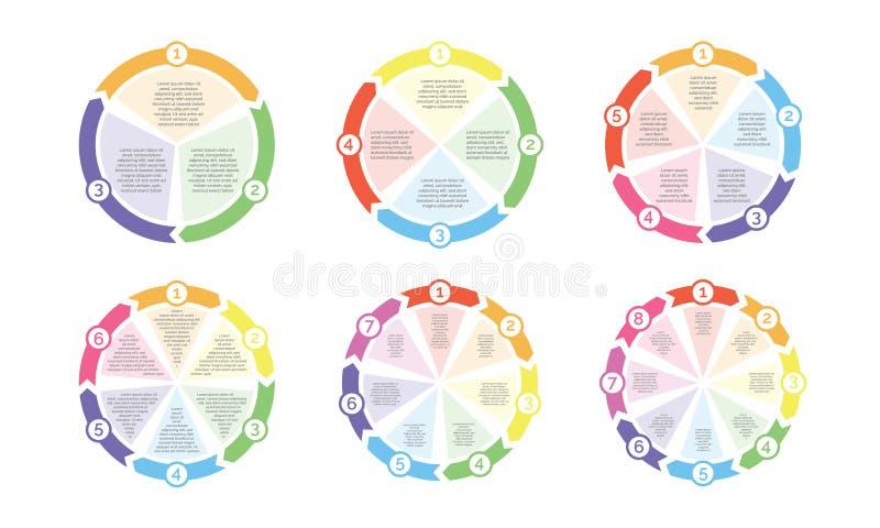 Cirkelflödesdiagramdiagram av nummer för vektor för cirkuleringsdiagrampilar för presentation royaltyfri illustrationer