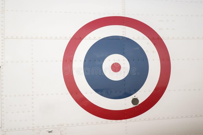 Cirkelflagga på flygplan Helikopter tillverkad av bröstkorg med metallplatta royaltyfri foto
