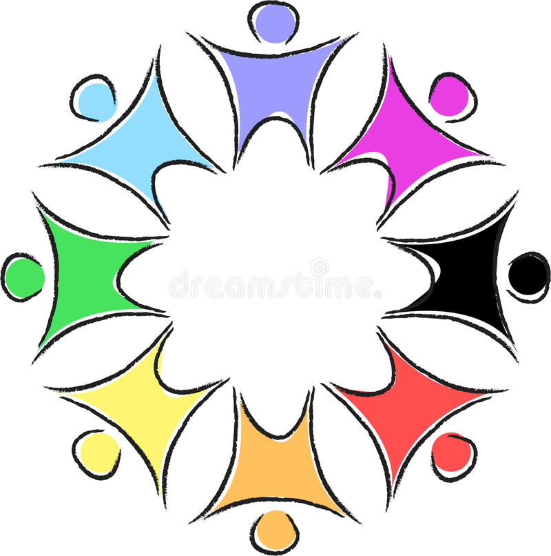 cirkelfolksilhouette royaltyfri illustrationer