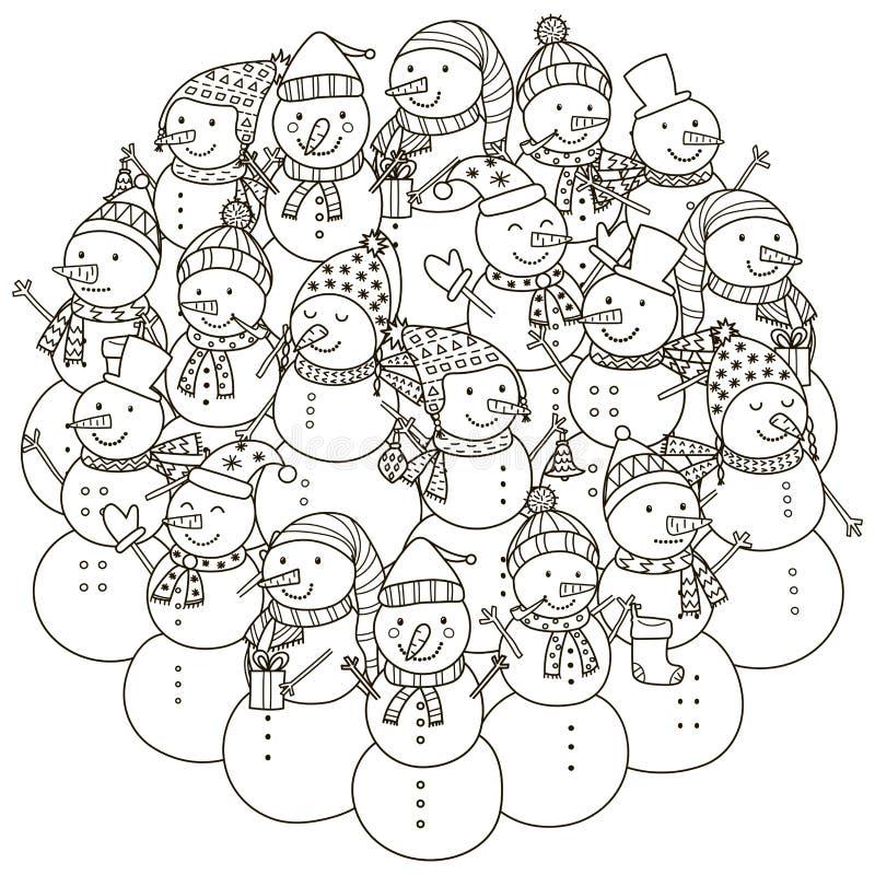 Cirkelformmodell med gulliga snögubbear för färgläggningbok stock illustrationer