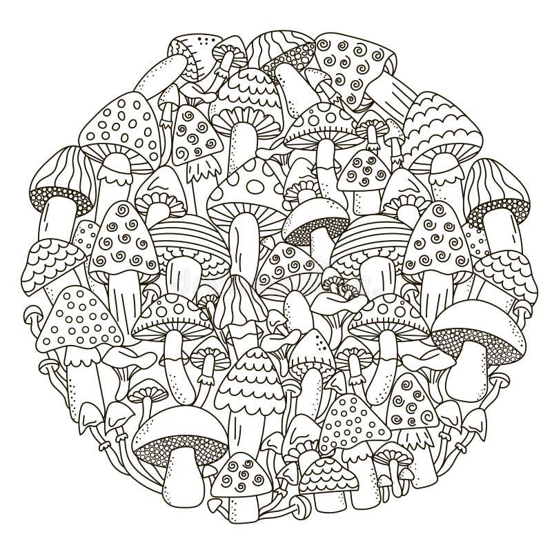 Cirkelformmodellen med fantasi plocka svamp för färgläggningbok royaltyfri illustrationer