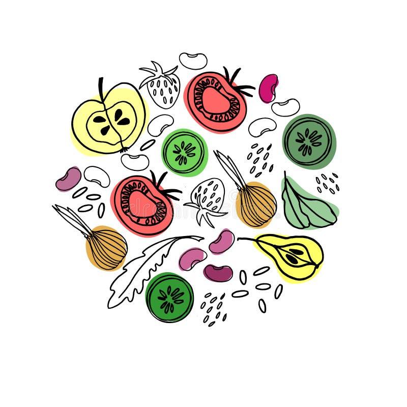 Cirkelfruit en plantaardig ornament voor oppervlakteontwerp, affiches, illustraties Gezond en vegetarisch voedselthema stock illustratie