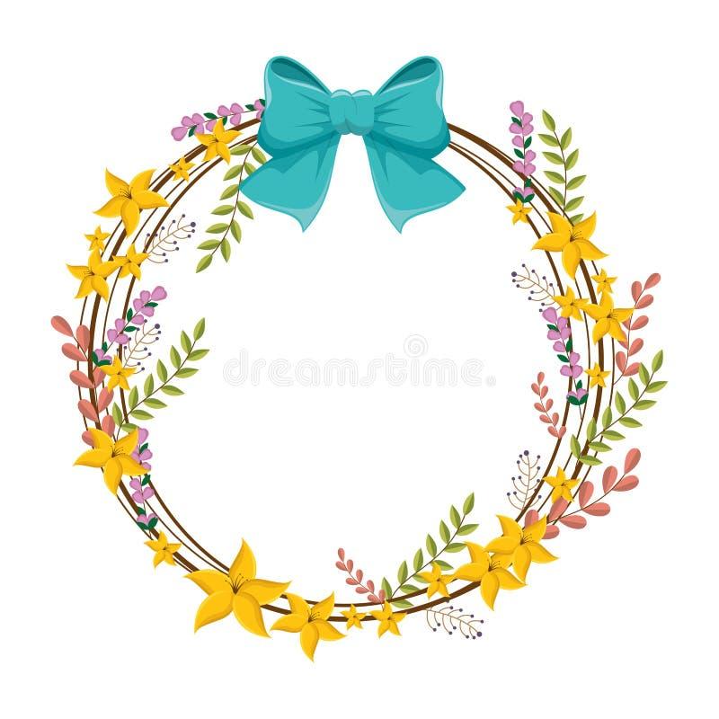 Cirkelgrens met gele bloemen en blauw lint royalty-vrije illustratie