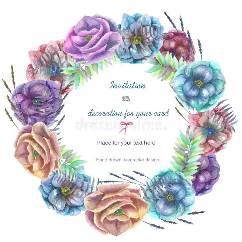 Cirkelkader, kroon met de bloemen van de waterverfanemoon stock illustratie
